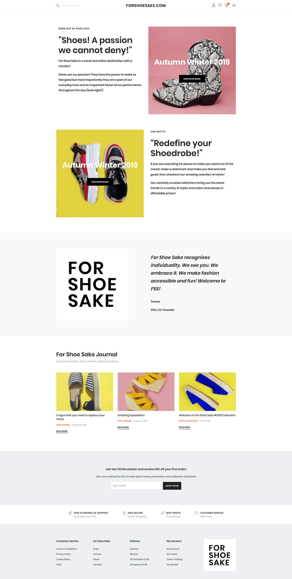 For Shoe Sake - forshoesake.com - Case Study 2 - developed by Digital Artifacts Creative