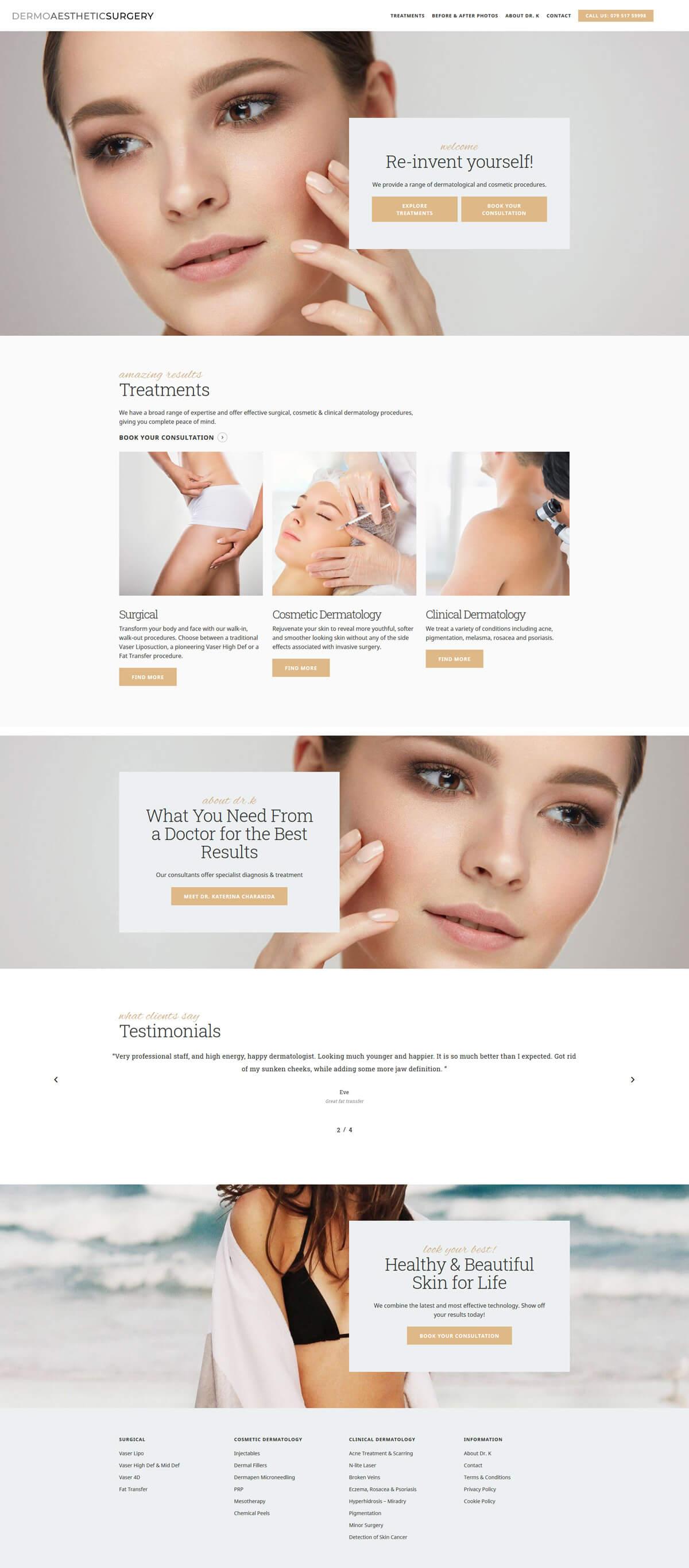 Dermo Aesthetic Surgery - dermoaestheticsurgery.com - Case Study 1 - developed by Digital Artifacts Creative